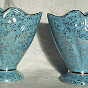 Pearl China Vases (Pair), Blue with 22K Gold Gilding