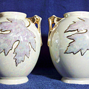 SALE Pair of Pearl Lustre Maple Leaf Vases with 22K Gold Gilding
