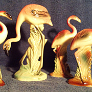 SALE 4 Vintage Porcelain Flamingos