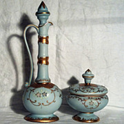 Porcelain Vanity Bottle & Powder Box Blue with Gold & Violets