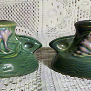 "Roseville Freesia Green 1160-2"" Candle Holders circa 1945"