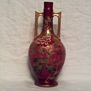 "SALE Royal Bonn 11"" Fuchsia 2 Handled Vase with Peonies"