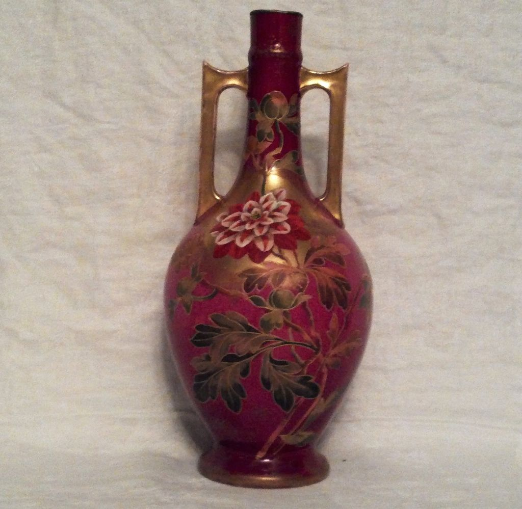 "Royal Bonn 11"" Fuchsia 2 Handled Vase with Peonies"