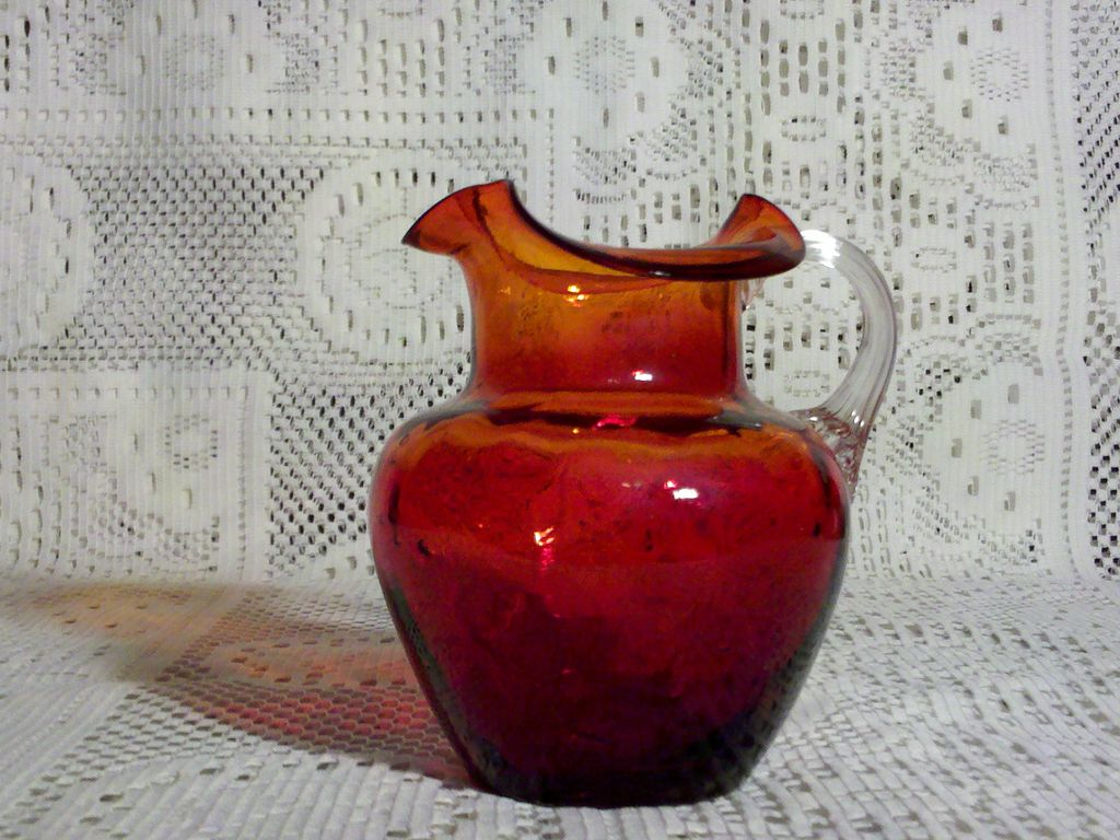 Ruby Glass Pitcher/Creamer with Clear Applied Reed Handle