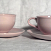 Iroquois Russel Wright Casual Pink Sherbet Cups & Saucers (2)