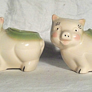 Shawnee Pig Planter (Pair) with Green Rims