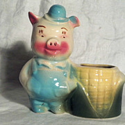 Shawnee Pig Planter Pig with Corn Cob Basket