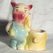 Shawnee Pig Planter Farmer Pig Next to Stump