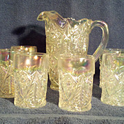 L.E. Smith Iridescent Glass Valtec Water Set - Pitcher and 6 Tumblers