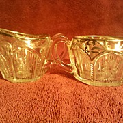 Cut Glass Sugar and Creamer with Silver Overlay