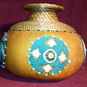 SALE Denna Donley Sweet Grass Gourd Basket with Turquoise Ornamentation