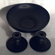 Tiffin Black Satin Console Bowl and Candle Holders
