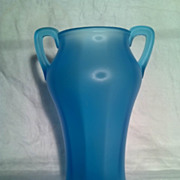 Tiffin Glass Velva Blue Satin Vase in Excellent Condition