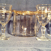U.S. Glass Sheraton Greek Key Design Water Set, circa 1909