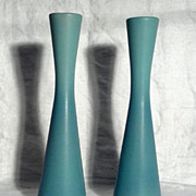 SALE Van Briggle Green Turquoise 9 1/2&quot; Bud Vases (Pair)