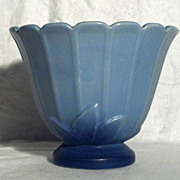 Weller Pottery Blue Planter with Leaf Motif