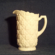 "Westmoreland 7 1/2"" Old Quilt White Milk Glass Pitcher"