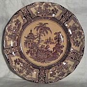 "SALE Wm Adams & Sons Kyber Purple Transferware 10"" Plate"