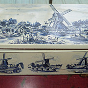 Cookie Tin in Cobalt Blue Holland Windmills