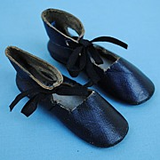 Heeled Deep Blue Shoes...... Circa 1870