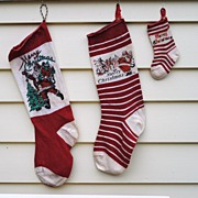 3 Vintage Christmas Stockings.....Including A Mini For Your Doll