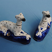 Pair Staffordshire Whippet Dogs On Pillows Inkwells