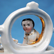 Charming Staffordshire Box Circa 1870 With China Boy Figure