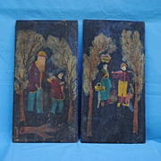Early 20th c. Adirondack Chip Carved Pair Folk Paintings...Signed