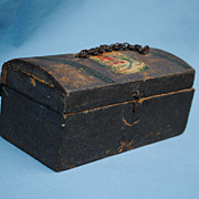 Early French Miniature Wooden Trunk ...Mid 19th c.