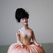 Wigged German Bisque Half Doll With Strung Arms...All Original