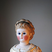 SALE Rare Glass Eyed Bisque Lady Circa 1875 With Molded Hair And Diadem
