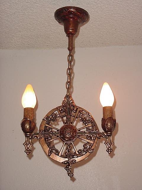 2 bulb vintage spanish revival lighting pendant for Spanish revival lighting fixtures