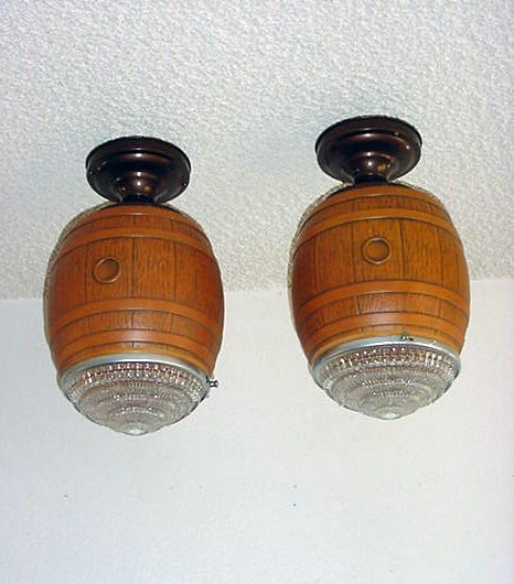 Vintage Pair Wine Cellar Brew Pub Light Fixtures