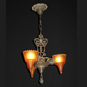Vintage Slip Shade Fixture with Serpents and Original Finish