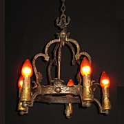 Antique Arts & Crafts Tudor Revival Style 5 Candle Chandelier