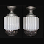 Matched Pair Antique Soda Shop Lighting Fixtures