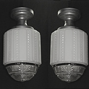Pair School House Department Store Electric Ceiling Fixtures