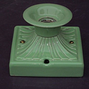 Vintage Arts & Crafts Bungalow Green Porcelain Fixture