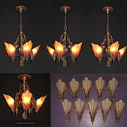 18 piece set of Original Vintage Brown Tip Slip Shade Fixtures