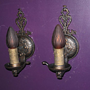 Pair Dog's Head Single Bulb Wall Sconce