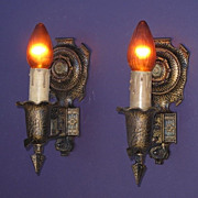 Pair Tudor Style Vintage Wall Sconces