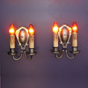 Vintage Silver Plated Hammered Wall Sconces