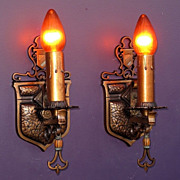 Pair Vintage Bronze Heraldic Revival Style Wall Sconces
