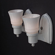 SOLD White Porcelain Sconces for Bath, Kitchen