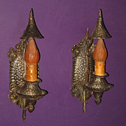 Pair Vintage Storybook Style Sconces with Hammered Original Finish
