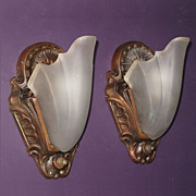 Copper Clad Cast Iron Slip Shade Wall Fixtures