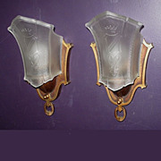 Pair Vintage Slip Shade Wall Sconces