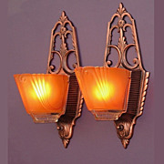 Vintage Pair Slip Shade Sconces in the Arts & Crafts Vein
