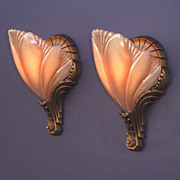Pair Deco Style Vintage Slip Shade Wall Sconces commonly called Birdwing