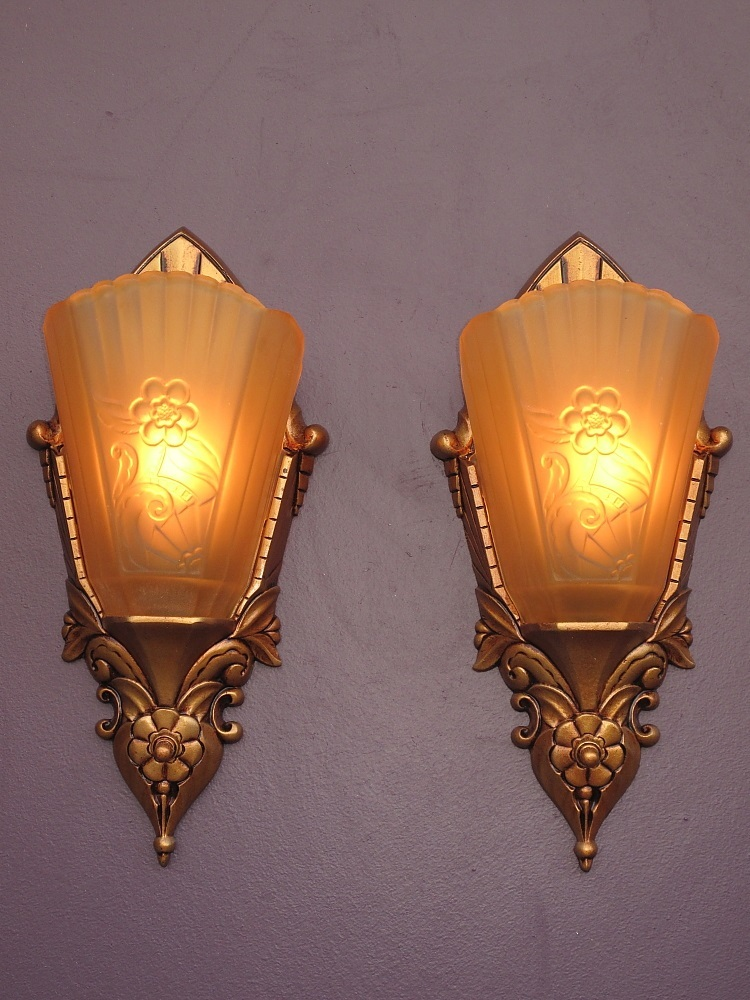 Art Deco Inspired Wall Sconces : Vintage Art Deco Inspired Slip Shade Wall Sconces c.1920s - 30s from vintagelights-online on ...